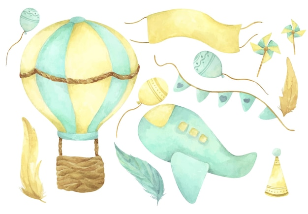 Aquarell fliegendes set. heißluftballon, flugzeug, flaggen, ballon und feder.