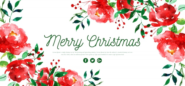 Aquarell floral frohe weihnachten banner