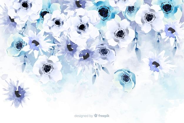 Aquarell floral hintergrund mit weichen farben