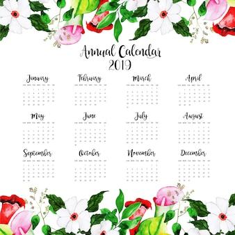 Aquarell-floral jahreskalender 2019