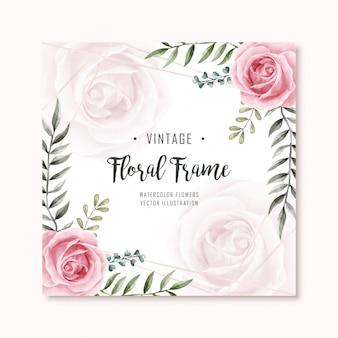 Aquarell floral rose flowers frame-vielzweckhintergrund