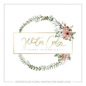 Aquarell floral vorgefertigte logo.