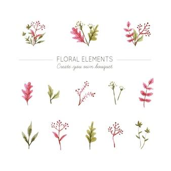 Aquarell floralen elementen