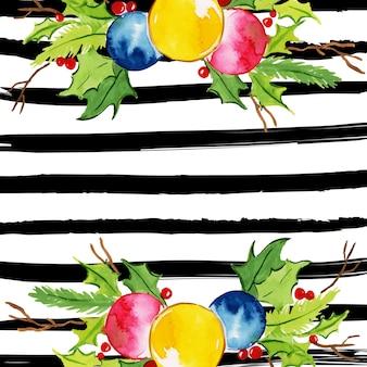 Aquarell-frohe weihnacht-blumenhintergrund mit streifen