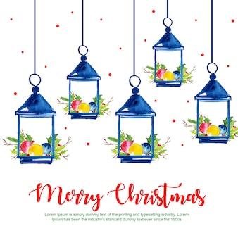 Aquarell-frohe weihnacht-hangings-hintergrund