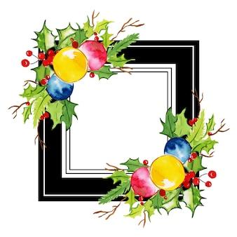Aquarell-frohe weihnachten-blumenrahmen