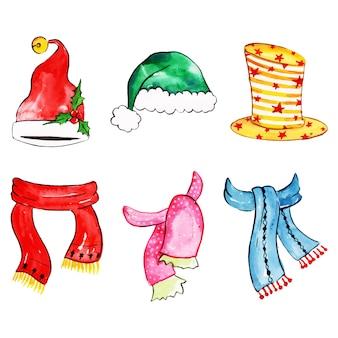 Aquarell-frohe weihnachten-element-sammlung