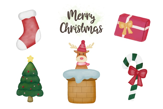 Aquarell frohe weihnachten elemente pack