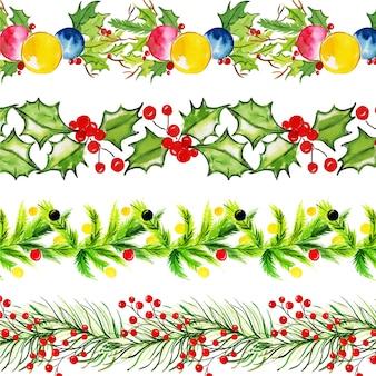 Aquarell-frohe weihnachten-grenzsammlung