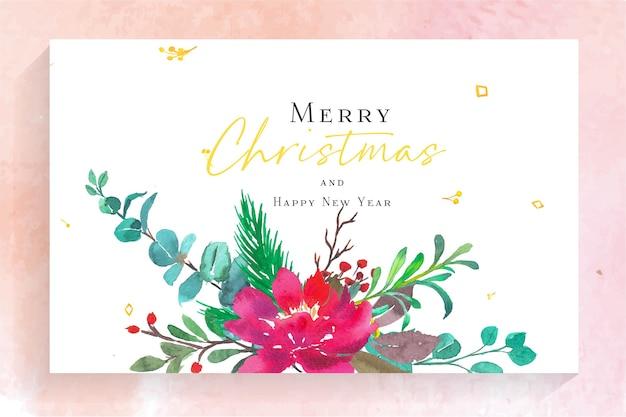 Aquarell frohe weihnachten und frohes neues jahr karte