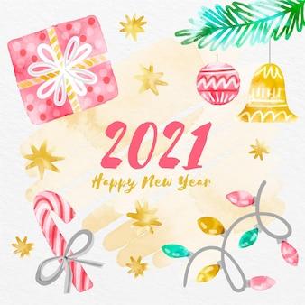 Aquarell frohes neues jahr 2021 mit geschenken