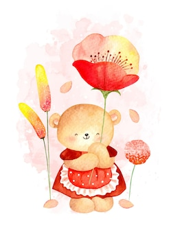 Aquarell frühling teddybär mit blumen