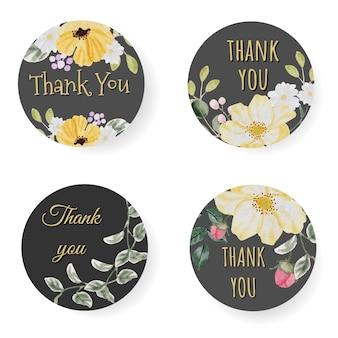 Aquarell frühlingsblütenblume danke aufkleber oder logosammlung