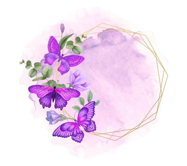 Aquarell frühlingsblumenrahmen mit schönen schmetterlingen