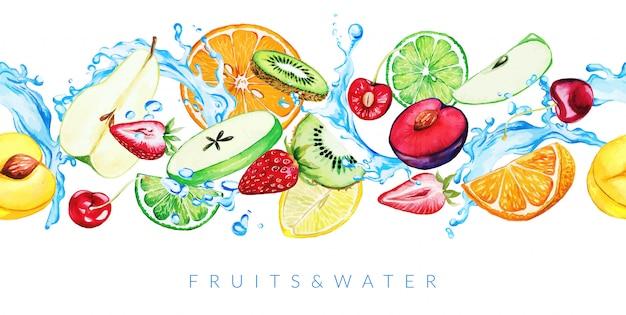 Aquarell gartenfrüchte und wasserspritzer