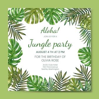 Aquarell geburtstagseinladungsvorlage. helle sommereinladung zum geburtstag, hochzeit im hawaiianischen strand-dschungel-stil.