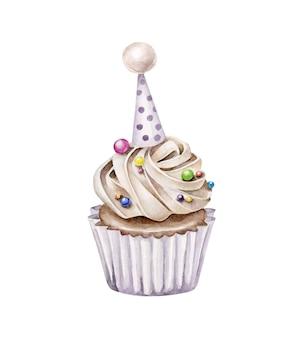Aquarell-geburtstagstorte. cupcake lokalisiert auf weißem hintergrund