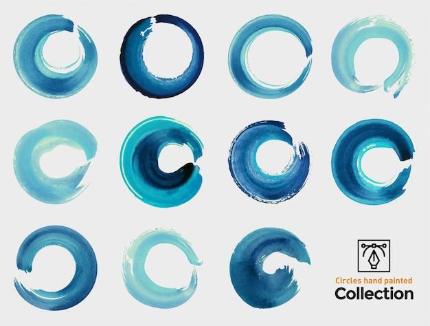 Aquarell gemalte kreise. sammlung von isolierten pinselstrichen.