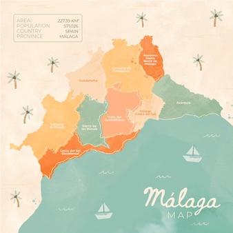 Aquarell gemalte malaga-karte