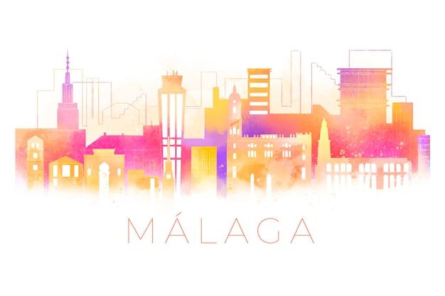 Aquarell gemalte skyline von malaga