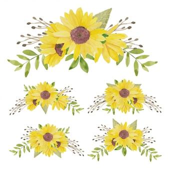 Aquarell gemalte sonnenblumenblumenstraußsammlung