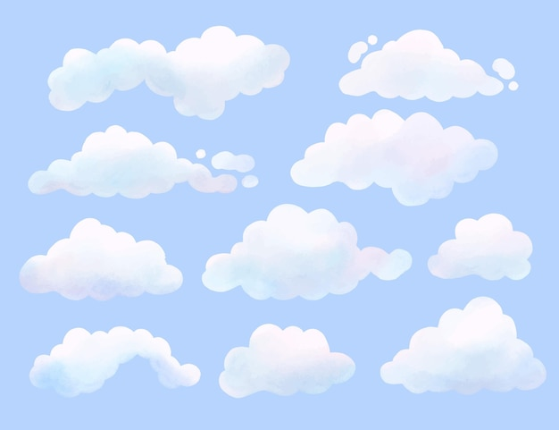 Aquarell gemalte wolkensammlung