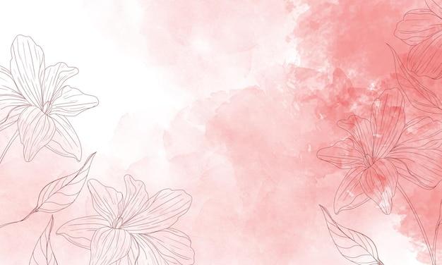 Aquarell gemalter hintergrund mit handgezeichneten blumen