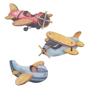 Aquarell gesetzt hintergrundillustration niedlichen satz flugzeuge, hubschrauber, vorlage für jungen, dies ist eine illustration für eine babyparty