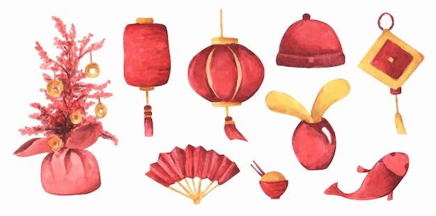 Aquarell gesetzt mit traditionellem chinesischem dekor. rote und gelbe sammlung.