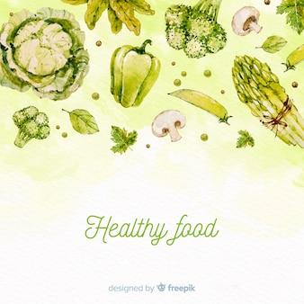 Aquarell gesunde lebensmittel hintergrund