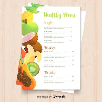 Aquarell gesunde menüvorlage