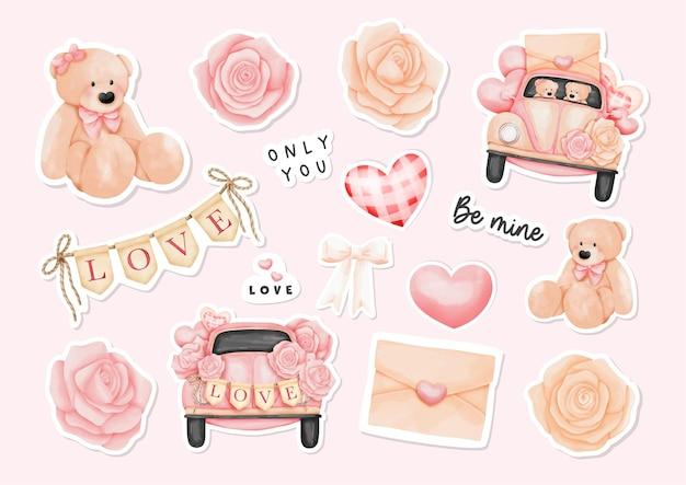 Aquarell-glückliche valentinstag-aufkleber mit teddybär und valentinstagselementen.