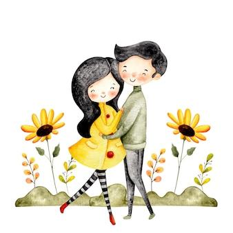 Aquarell glückliches paar mit sonnenblume und blättern