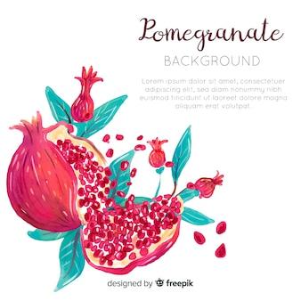 Aquarell granatapfel hintergrund