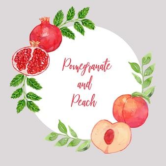 Aquarell-granatapfel und pfirsich-klassische rahmen-schablone
