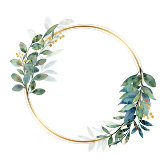Aquarell grüner blätterkranz mit goldenem kreis