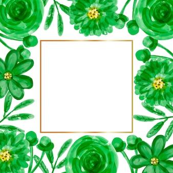 Aquarell grüner blumenrahmenhintergrund