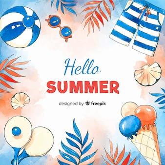 Aquarell hallo sommer hintergrund
