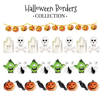 Aquarell halloween borders sammlung
