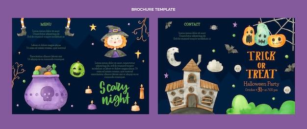 Aquarell halloween broschüre vorlage