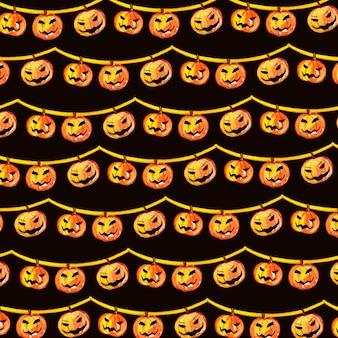 Aquarell halloween elemente muster hintergrund