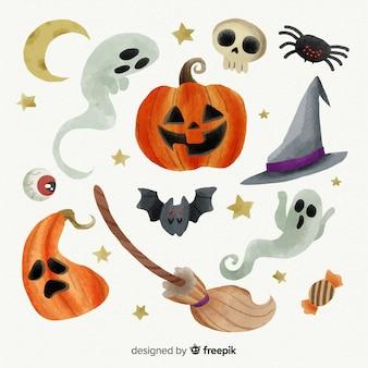 Aquarell halloween elementsammlung