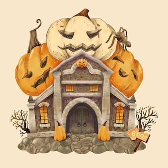 Aquarell halloween hausillustration