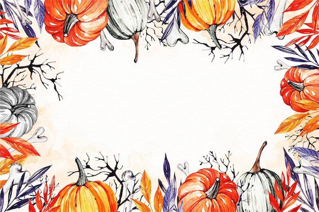 Aquarell halloween hintergrund mit kürbissen