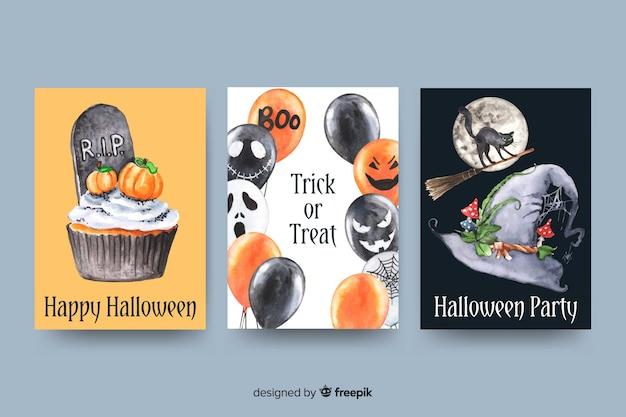 Aquarell halloween-kartensammlung