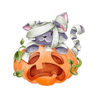 Aquarell halloween katze