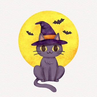 Aquarell halloween katzenillustration