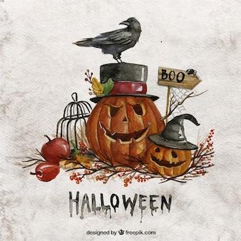 Aquarell-halloween-kürbisse