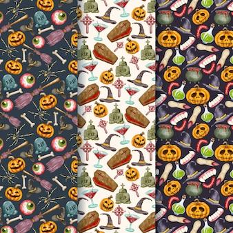 Aquarell halloween muster sammlung
