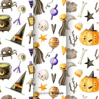 Aquarell halloween mustersammlung